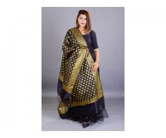 Buy Black Sharara Set with Banarasi Dupatta Online